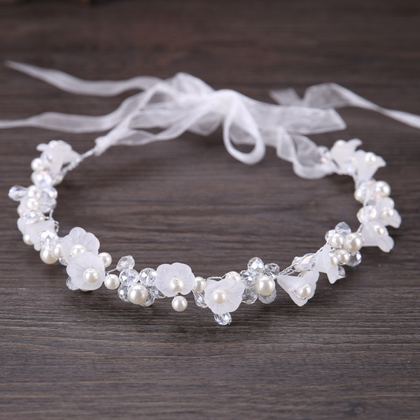 Handmade White Crystal Pearl Flower Headband Bridal Tiaras Headpiece Hair Jewelry Women Hair Piece Wedding Accessories