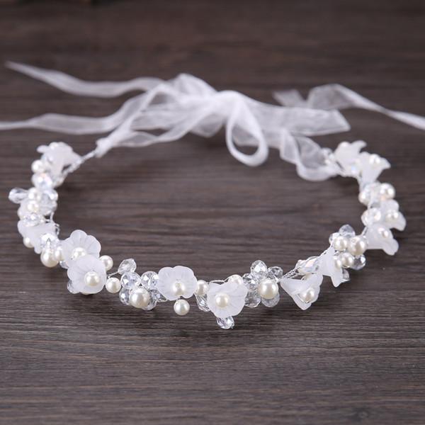 Handmade White Crystal Pearl Flower Headband Bridal Tiaras Headpiece Hair Jewelry Women Hair Piece Wedding Accessories