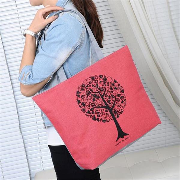 Cheap Women Casual Floral Large Capacity Tote Canvas Shoulder Bag Shopping Bag Beach Bags Casual Tote Feminina bolsos de mujer