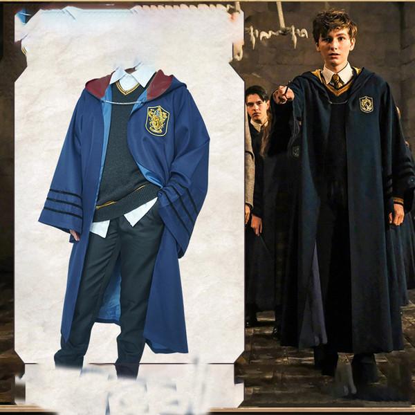 Bata de Harry Potter Traje Ropa Túnica Capa mágica Ravenclaw Gryffindor Hufflepuff Slytherin Cosplay Cabo 4 color LJJK1720