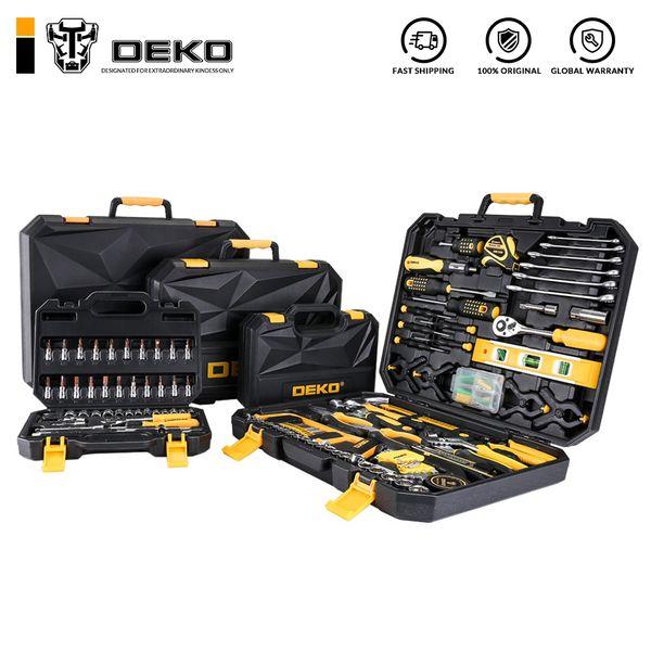 DEKO Tool Set Kit General Household main avec boîte à outils en plastique boîte de rangement Clé à douille tournevis couteau DEKO outils à main Set