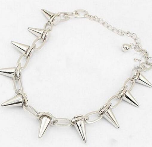 Vintage Silver Punk Spike Cone Stud Rivet Open Police Handcuffs Chain Bracelets Bangles Gothic Jewelry For Women Bijoux Gifts Accessories