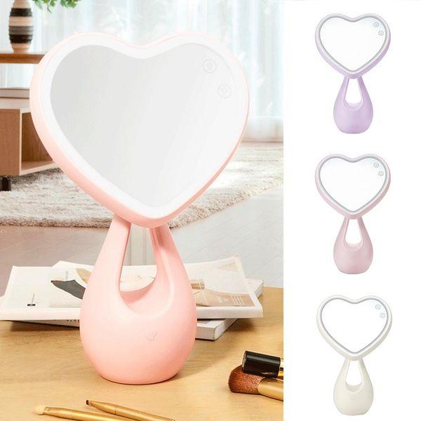 Nuovo specchio per trucco regolabile Love Heart LED Lighted Table Women Make Up Strumento specchio compatto strumento cosmetico 2019