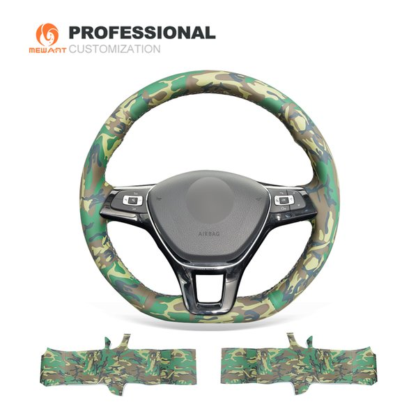 MEWANT Camouflage Artificial Leather Car Steering Wheel Cover for Volkswagen VW Golf 7 Mk7 New Polo Jetta Passat B8 Tiguan Sharan Touran