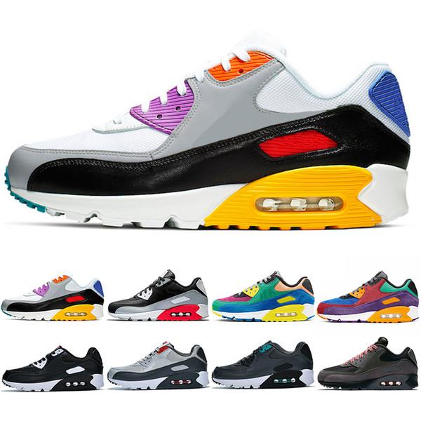 Acheter Nike Air Max 90 Hommes Femmes Chaussures De Course Soyez Vrai Viotech Betrue Mixtape Noir Infrarouge Blanc Gris Mode Hommes Formateur Sport