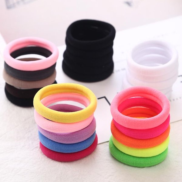 50pcs/bag 40mm Pure White Hair Holders Rubber Bands Elastics Girl Women Tie Gum Headband Hair Accessories Elastic Hair Bands