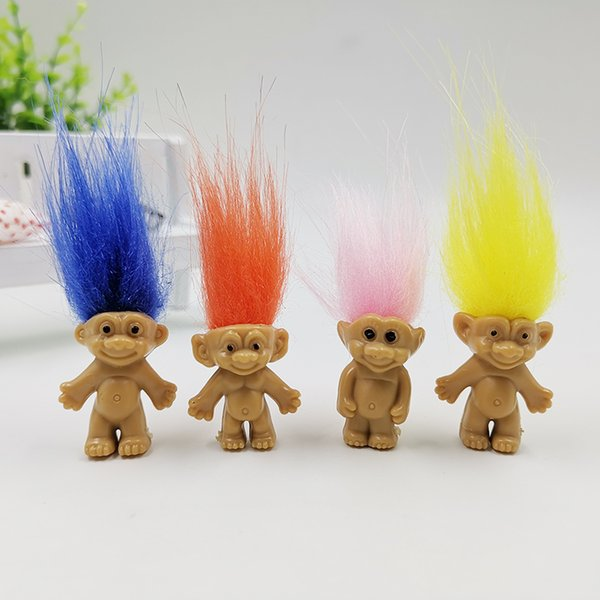 Mini troll doll cute long hair lucky troll dolls ugly baby Indian child hair fairy plastic ugly baby tabletop decoration crafts