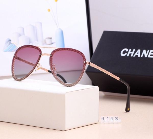 2019 Yeni Moda Tasarımcısı Lüks güneş Erkekler Kadınlar Zincir çerçeve Güneş Gözlüğü Moda KUTUSU Ile Güneş gözlükleri UV Koruma Lens ...
