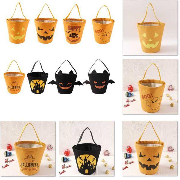 Halloween Candy Bucket Gift Wrap Girls Boys Child Kids Candy Collection Canvas Bag Handbag Festival Storage Basket WX9-1523