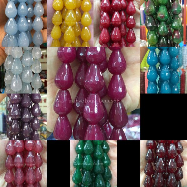"Free Shipping Beautiful jewelry 13x18 Faceted Colorful Jad Pear Shape Art Women Men Spacers Loose Beads 15"" WB592b"