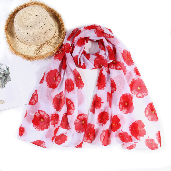 spring summer women scarf red flower print green blue white Retro Shawls cotton Scarves light Muffler Muslim Hijab Beach Bufanda