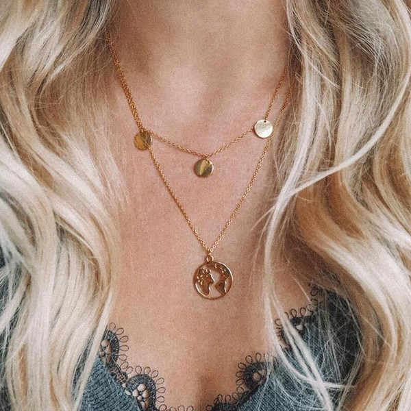 Globe Earth World Map Pendant Necklace Women Silver Gold Chain Fashion Necklaces