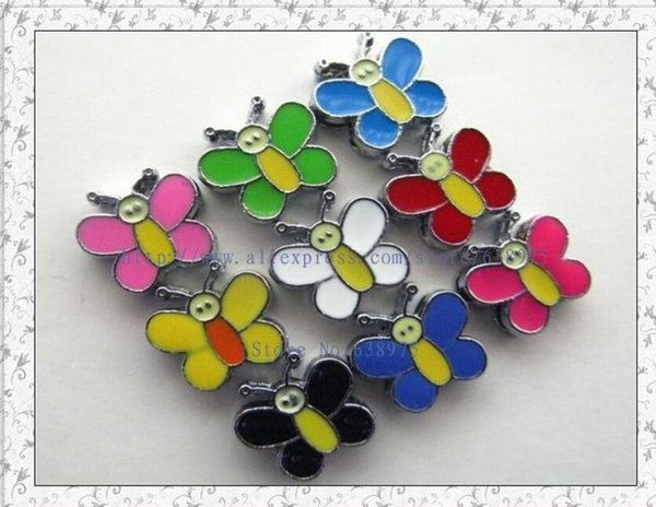 50pcs-100pcs 8MM Enamel Butterfly Slide Charms DIY Accessories Fit 8mm Wristband Belts Pet Dog Collars Phone Strips Keychain