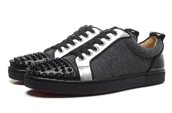Новая Мода Низкие Шипы Toe Red Bottom Обувь Для Мужчин Женщин Дизайнер Лоскутное 9 Цвета