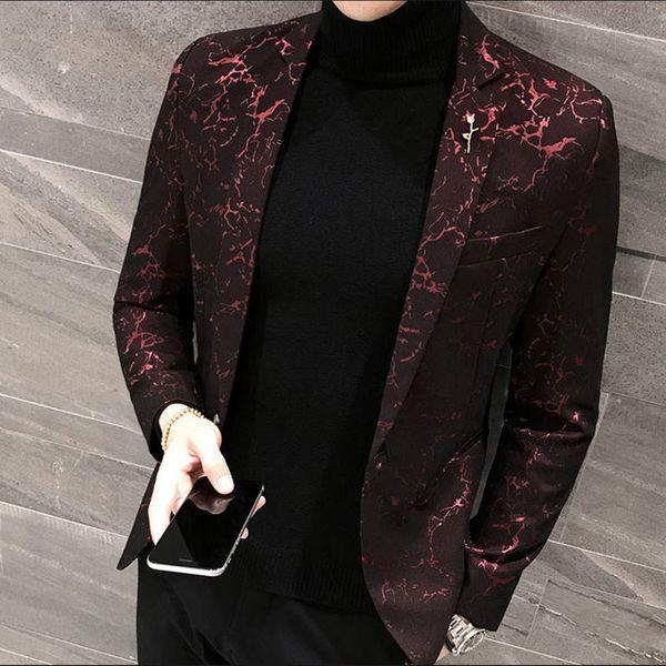 Slim bleiser masculino 2019 Зимний повседневный костюм с цветочным принтом Мужской пиджак с цветочным принтом Вечернее платье Pantalon Модный блейзер мужской