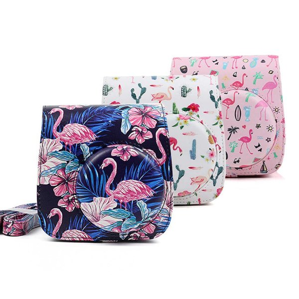 Portable Fashion Printed PU Leather Digital Camera Bag With Shoulder Strap