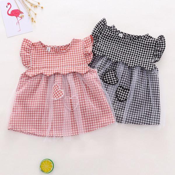 2019 Estate dolce bambini dolce ragazza Baby Love patch Plaid maglia patchwork partito Princess Dress C2143