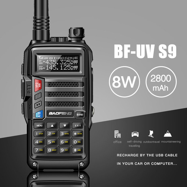 2019 BAOFENG UV-S9 8W Powerful VHF/UHF136-174Mhz & 400-520Mhz Dual Band 10KM Long Range Thickenbattery Walkie Talkie CB Radio