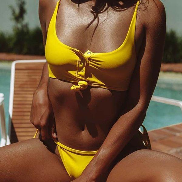 Sexy Yellow Tie Buckle Brazilian Bikini Thong Push Up Swimsuit 2019 Girls Swimwear Swim Bathing Suit Beach Women's Swimming Suit