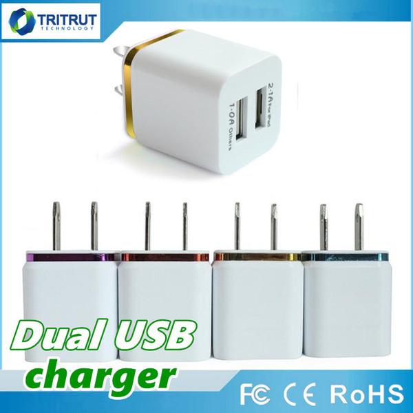Metal Dual USB wall Charging Charger US EU Plug 2.1A AC Power Adapter Wall Charger Plug 2 port for Iphone Samsung Galaxy Note Ipad MQ200