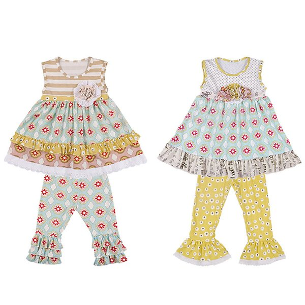 Baby Girl Clothing Set Lace Printed Sleeveless Ruffle Tops Bell-bottoms Pants Two-Piece Sets Kids Designer Clothes Girls 4M-14T 07