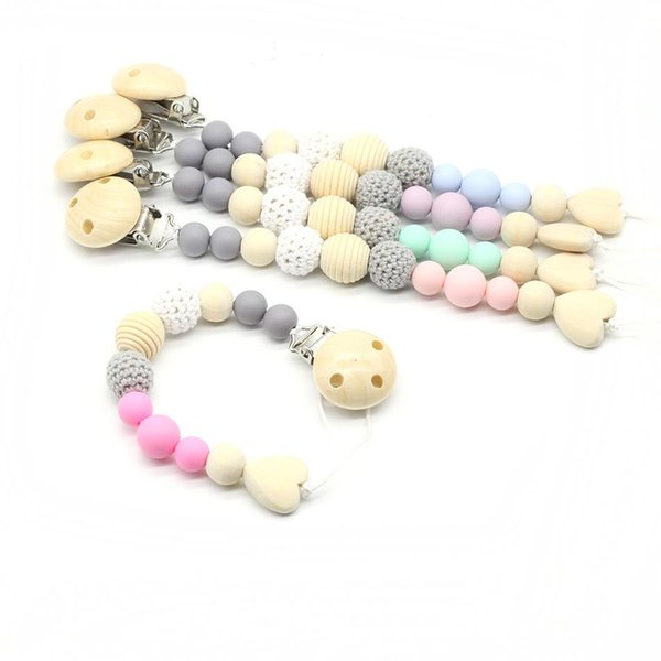 Wooden Silicone Teething Beads Pacifier Chain Clip Diy Clips Personalized Crochet Baby Products New Arrivals Gifts For Kids