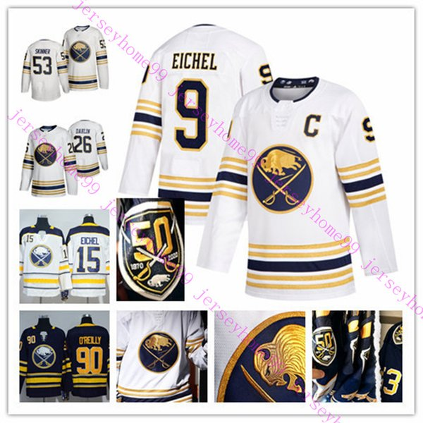 best selling Buffalo Sabres 50th Patch Golded Jersey Jack Eichel Rasmus Dahlin Jeff Skinner Home Away Navy White Blank All Stitched Adult Men Size S-3XL