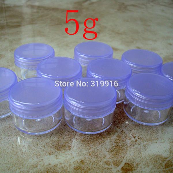 5 g x 100 crème cosmétique vide, petit récipient en plastique, mini pot de crème à échantillon avec couvercle à vis pourpre, pot de bouteille transparent