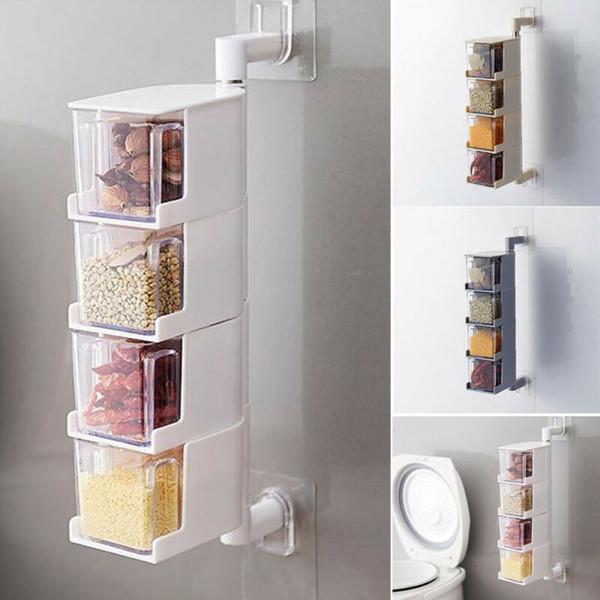 Assaisonnement rack épices Pots Boîte de rangement Container Condiments outil de cuisine 4 couches