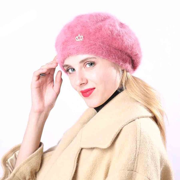 New Arrival Elegant Women Warm Hats Rabbit Fur Cap Autumn Winter Berets Ladies Female Fashion Skullies Beret Hat M118
