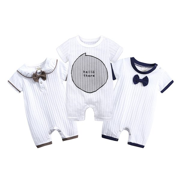 Retail baby boys girls jumpsuit letter cartoon printed short sleeve infant cotton romper newborn button one-piece boutique fashion onesies