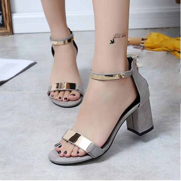 Hot Sale Summer Sandals Shoes Open Toe Women Sandles Thick High Heel Shoes Gladiator Flat Gladiator For Female Fashion
