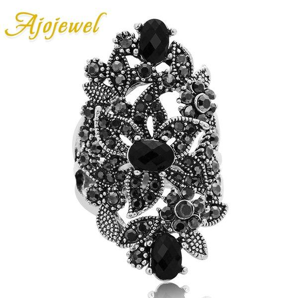 Аксессуары для ювелирных изделий Ajojewel черный хрустальный горный хрусталь цветовые украшения винтажные ретро кольцо женщины большие кольца моген