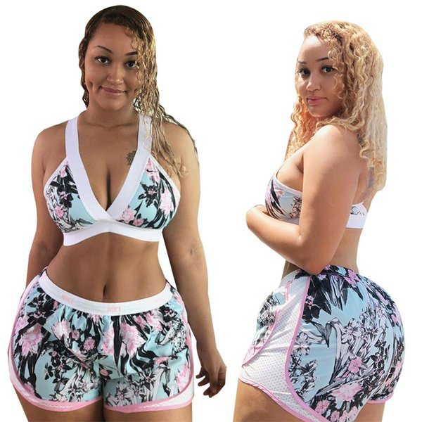 Women Floral Print Short Tracksuits Yoga Two Piece Shorts Set Elastic Bandage Sports Bra Low Waist Hot Pants Suits Active Outfits