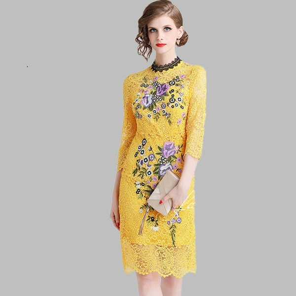Yellow Lace Dress 2019 Summer Womens Elegant Embroidered Flowers Office Casual Slim Sexy Party Dresses Womens Black Dress Evening Dresses On Sale
