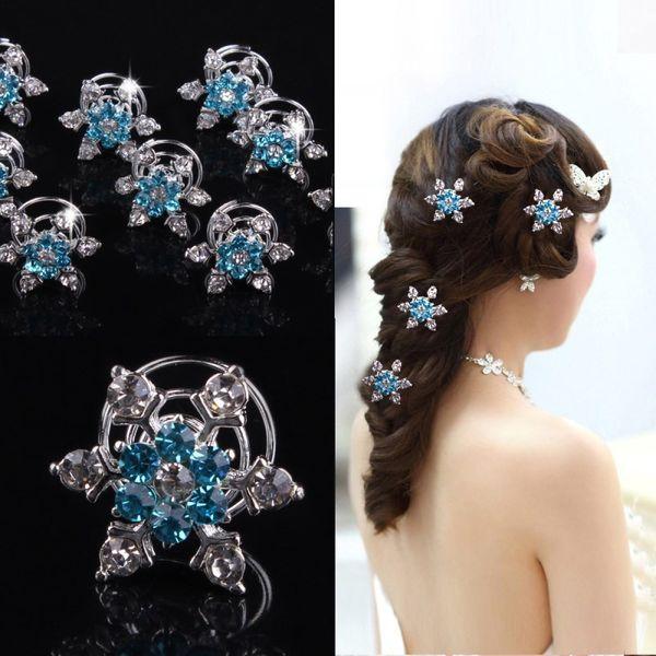 Women Bridal Wedding Hair Jewelry Snowflake Hair Clips Girl Rhineston Diamond Hair Accessories Hairpin for Cosplay Party Favor RRA2600