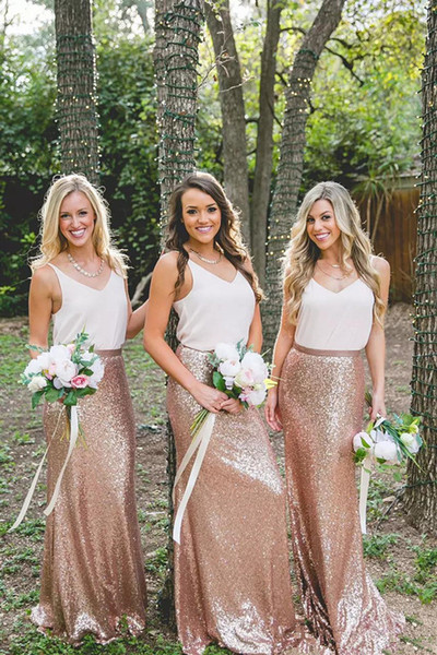 Cheap Country Rose Gold Sequins maxi skirts and strap white tops Bridesmaid Dresses V-Neck Sleeveless Two Pieces Dresses for Bridesmaid Long