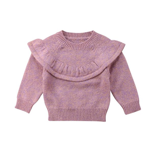 2018 Newly Autumn Winter Lovely Toddler Baby Girls Sweater Tops Long Sleeve Solid Ruffles Pullover Tops Outfit 0-3Y