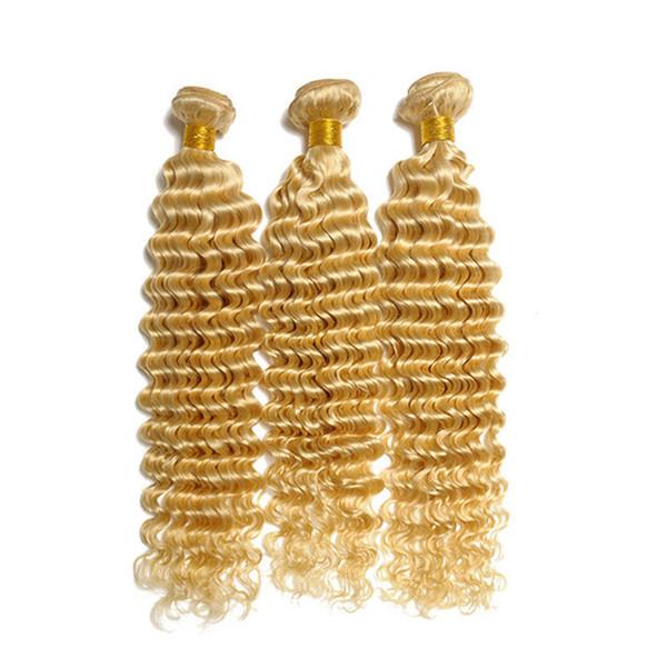 Capelli biondi della malese dell'onda profonda 3 pacchi lotto Colore puro # 613 Capelli umani biondi della candeggina tesse 10A estensioni dei capelli biondi