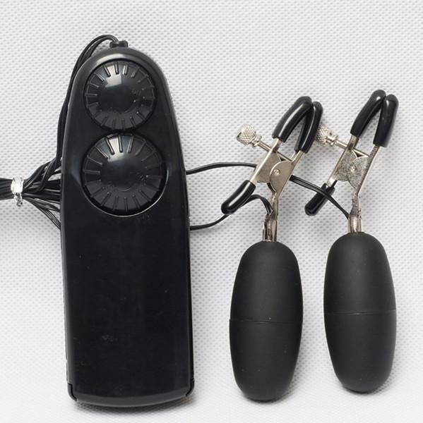 Electric Massage Vibrator Female Nipple Clip Double Jump Eggs Shake To Stimulate The Breast Massage Vibrator Sex Toys with retail box