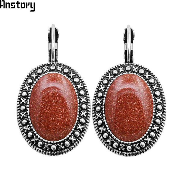 oval sequins golden stone earrings for women antique silver plated fashion hook earring