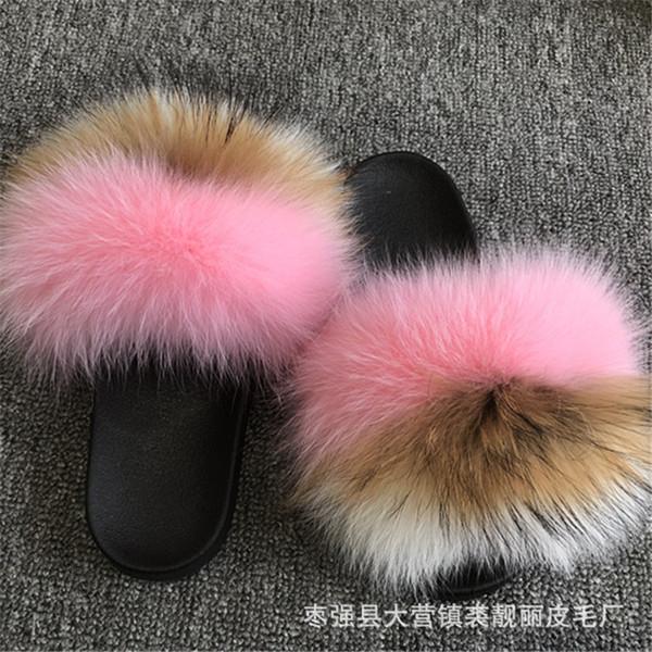 2019 mode Frauen Flauschigen Echtpelz Rutschen Hausschuhe Komfortable Indoor Outdoor Flache Sandalen Flip Flops Schuhe