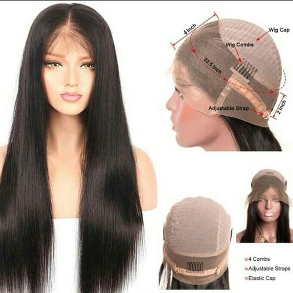 my queen Pretty sexy 100% unprocessed virgin hair 360 frontal full lace human hair natural color silky straight pre plucked hairline
