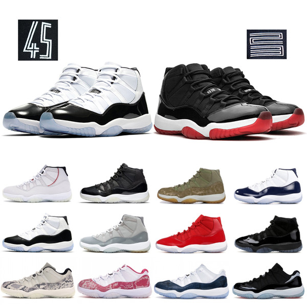 top popular 2019 Resale Bred 11 11s Mens Basketball Shoes Space Jam Concord 45 Heiress Black Low Green Snake Men Women Sneakers Designer Shoes 2019