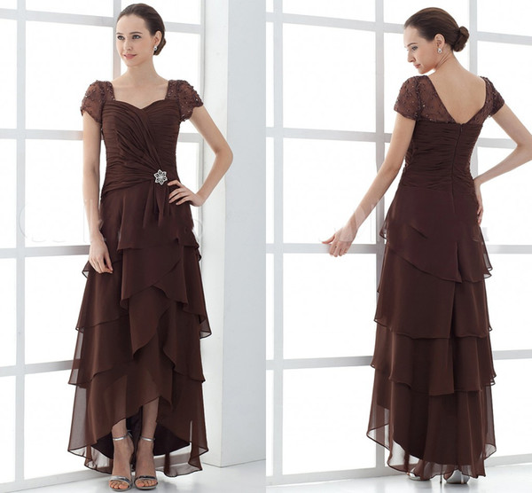 Cheap A Line Mother of the Bride Dresses Short Sleeve Tiered Chiffon Hi Lo Prom Dresses Plus Size Mothers Wedding Guest Dress