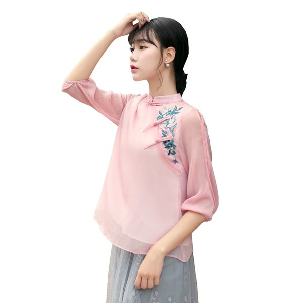 Shanghai Story New Sale traditional chinese tops 3/4 Sleeve cheongsam top traditional Chinese Linen Top Linen blouse