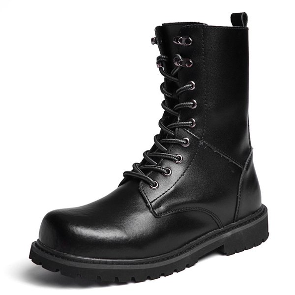 Men Motorcycle Boots High Quality PU Leather Winter Boots 2018 Fashion Design Casual High Top Boot Shoes Plus Size 38-48