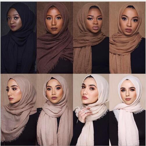 Ethnic Oversize Muslim Crinkle Hijab Head Scarf Women Solid Bubble Cotton Shawls And Wraps Soft Big Linen Foulard Femme