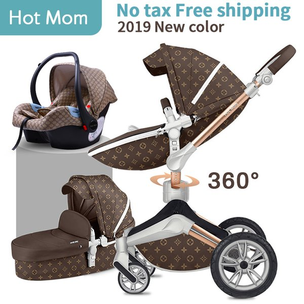 Hot Mom 3 in 1 Luxury Baby Stroller High Landscape 2 in 1 Light folding Four Wheels Baby Pram CE standard free shipping Gifts