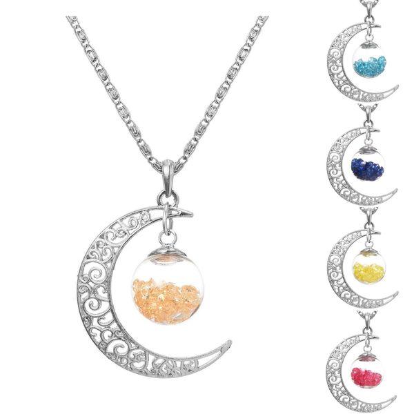 Оптово-старинные ювелирные изделия посеребренные с полумесяцем желание стеклянная бутылка Rhinestone себе колье длинное ожерелье для женщин